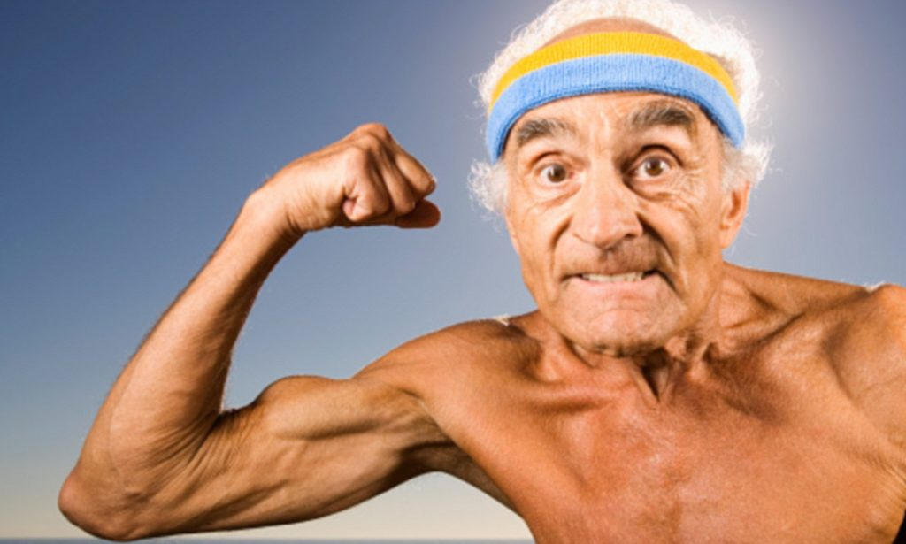 old man with muscles from exercising