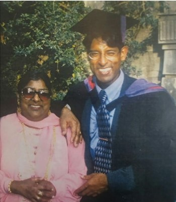 Surinder sandhu with his mother at his graduation in 1998