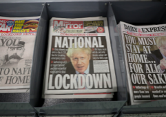 UK newspapers on UK lock-down due to coronavirus
