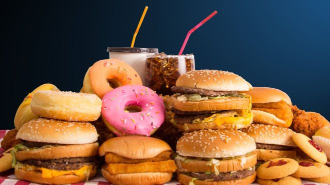 Fast food such as burgers, milkshakes and doughnuts